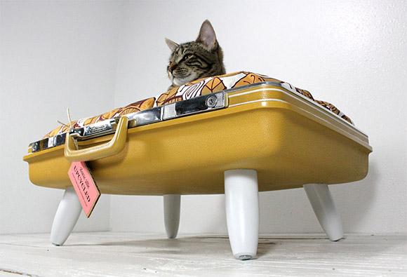 Legowisko dla kota z walizki, co zrobić ze starą walizką, jak wykorzystać starą walizkę, Pomysł na starą walizkę, drugie życie rzeczy, ekomeble, vintage,